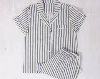 Sleepwear, Women's pajamas, Button up pajamas, cotton sleepwear, Holiday Pyjamas set, Striped Short-Sleeve Pajama Set