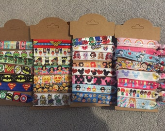 Cute Disney Princess, Tsum Tsum, Star Wars, Girl & Boy Superheroes printed hair elastic