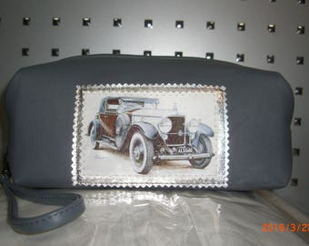 men's leather bag grey with retro car