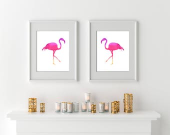 Flamingo wall print set of 2, instant download, Flamingo Party Printables, girlfriend diy gift, friend gift diy, Boho chic nursery printable