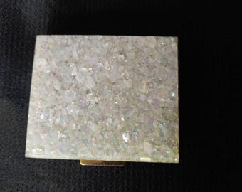 1950s crushed mother of pearl powder compact with mirror