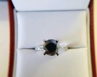 Elegant 2.75ct BLACK DIAMOND RING with .30ct white diamonds set in 14k white gold.