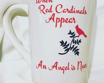 "Red Cardinals mug ""when Red Cardinals appear an Angel is Near"""