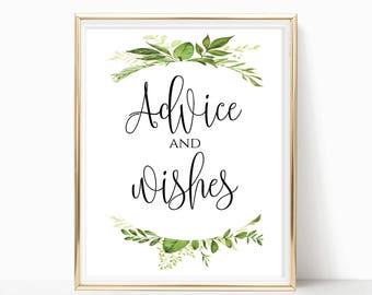 Advice and Wishes Sign Printable Wedding Sign Wedding Decor Wedding Reception Sign Advice For Bride And Groom DIY 8x10, 5x7, 4x6 Greenery