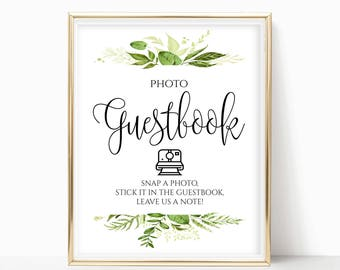 Printable Photo Guestbook Sign Alternative Wedding Guest Book Sign Photo Guest Book Instant Photo Instant Download 8x10, 5x7, 4x6 Greenery