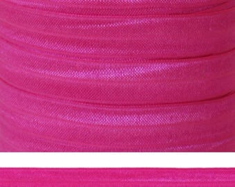 HOT PINK Fold Over Elastic - FOE - 5 Yards - Solid Fold Over Elastic - 5/8 Elastic - Hot Pink Elastic - Pink Ribbon