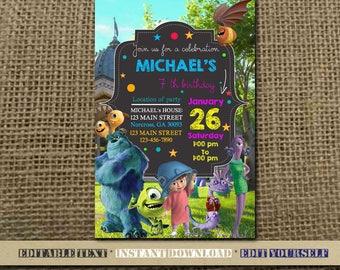 Monster Inc Invitation,Monster Inc Birthday,Monster Birthday Invitation,Monster Inc Party,Monster Inc Birthday Party,Monster Inc-SL16