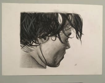 Harry Styles BW Charcoal Original Drawing