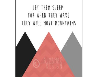 Red Nursery Art, PRINTABLE, Let Them Sleep for When They Wake They Will Move Mountains, Baby Shower Gift, Nursery Decor, Wall Art, Twins