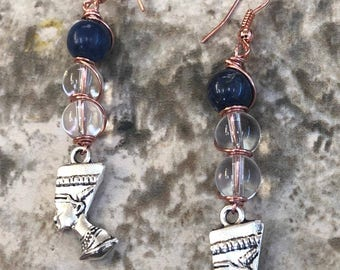 Sodalite/Clear Quartz/ Queen Nefertiti Earring