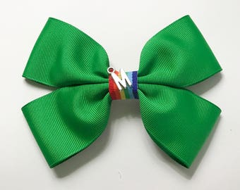 Bright Kelly Green Grosgrain Hair Bow with multistripped center ribbon, Green Hair Bows for Women, Ladies, Charmed Hair Bows