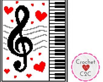 INSTANT DOWNLOAD - Love Music - Crochet Graph - Crochet Pattern - Blanket - Corner to Corner - C2C