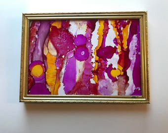 Aurora, Alcohol Ink Art, framed art, handmade art, 5x7