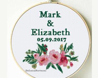 Wedding cross stitch, floral bouquet, anniversary cross stitch customizable cross stitch pattern, personalized cross stitch wedding date