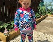 Kids clothing handmade toddler fashion flamingo sweater jersey jumper toddler sweater toddler hoody pink