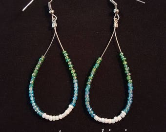 Glass Seed Bead Hoop Earrings