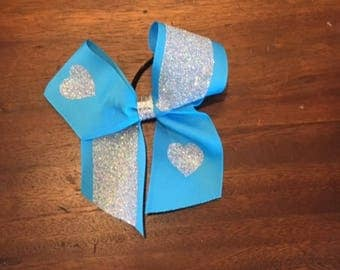 Teal and Glitter Hear Cheer Bow