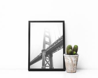 PRINT - Golden Gate Bridge Black and White Photography Print