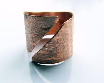 Shield. Men's ring, handmade adjustable men's copper ring