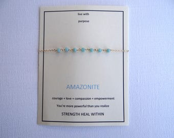 amazonite centered gem bracelet, gold filled