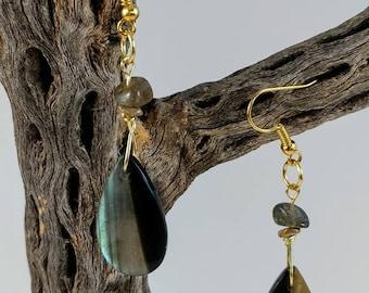 Labradorite and Obsidian Earrings