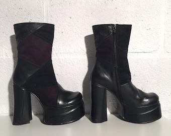 1974 glam rock platform boots