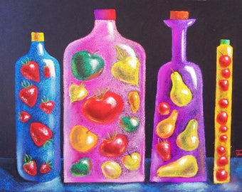 Canned fruits drawing  Pears  Strawberry Appels Cherry  Original pastel  Fruit Still Pastel drawing Kitchen Food Art Fresh Produce
