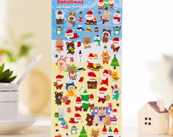 DIY Colorful Christmas hot stamping kawaii Stickers Diary Planner Journal Note Diary Paper Scrapbooking Albums PhotoTag - DESIGN 1