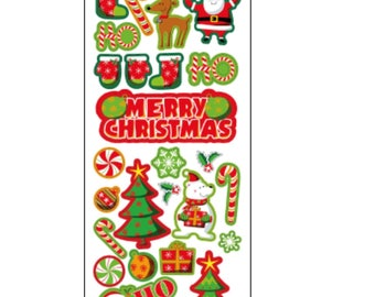 Xmas HO HO HO Stickers, Christmas Sticker, Decorations, Scrapbooking, Planner, Journal, Diary Stickers, Christmas, Santa Sticker