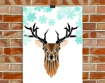 Deer print ,illustration, artwork, Wall Art ,Winter deer print