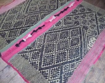Peruvian vintage frazada, handwoven Andean rug, Mesa cloth, organic natural rug, frazada