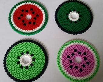 4 x coasters protect drink 8.5x8.5cm in pearls Hama bead