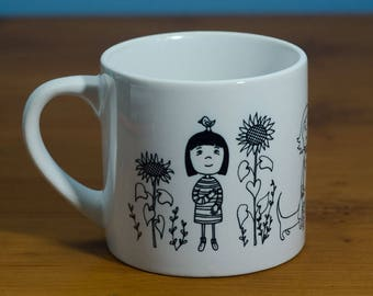 Girls in a Row - a charming ceramic mug from artist's original image