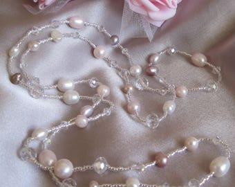 Pink Pearl, Swarovski Crystal and Japanese Seed Bead necklace