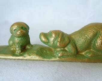 """VJ758 :""""Dog with Puppy""""Iron collectible Paper Weight, Calligraphy Paper Weight,  Paper Weight""""Dog with Puppy"""",made in Japan"""