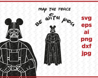 Mickey SVG, Darth Vader svg, Star wars SVG, cricut silhouette cutting file, dxf, eps, png, download, Mickey clipart, Disney SVG, Force Svg