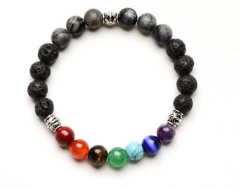 7 CHAKRA BEADED Bracelet - LAVA Stone Oil Diffuser - 8mm Healing Gemstones - Yoga Jewelry