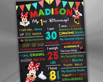 ON SALE 30%Minnie Mouse Birthday Poster - Minnie Mouse Birthday Chalkboard Sign - Minnie Mouse 1st Birthday Chalkboard Poster