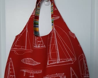 Sails and stripes reversible tote bag (outdoor fabric)