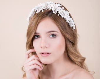 Modern Wax Orange Blossoms and Crystals Headpiece