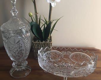 Vintage D'Adrianna Yugoslavia Apothecary Jar & Footed Bowl