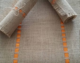 Table Runner -HandMade Natural  Burlap/Jute & Orange Ribbon