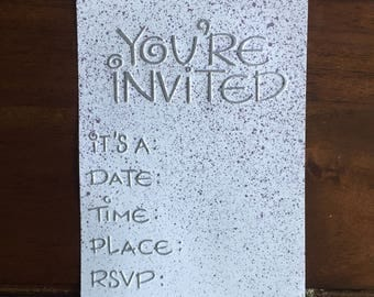 """Embossed, Fill-In """"You're Invited!"""" Invitation Card - Purple Splatter"""