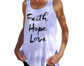 Women Faith Hope Love Tank Sleeveless