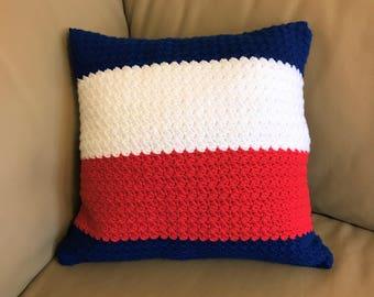 AFL Western Bulldogs Crochet Cushion