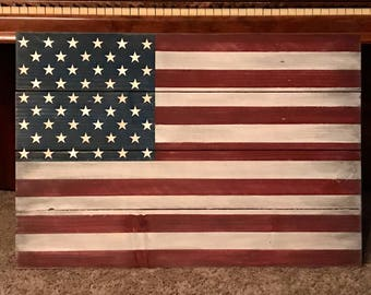 Hang Flag On Wall wood american flag | etsy