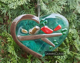 Kissing Cardinals Couple // Lovers Valentine // Heart Shaped // Ornament or Suncatcher // Handmade Fused Glass