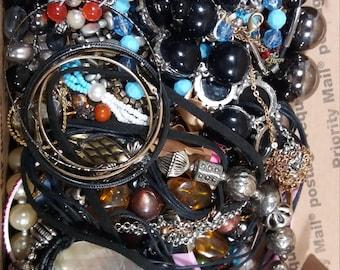 Bulk Junk Jewelry Lot, Full Small Flat Rate Box,  2 Pounds.( lot J4 )