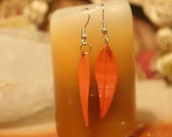 Orange Feather Earrings.