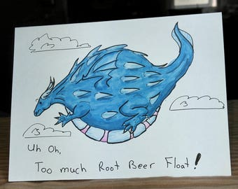 Greeting Card, Dragon, Root Beer Float, Floating, Blank card